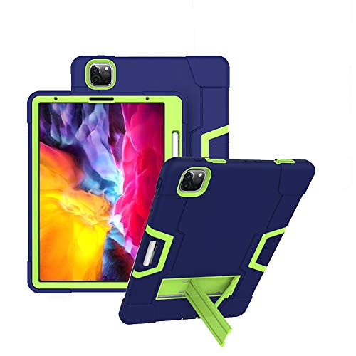 Koolbei iPad Pro 11 Tablet Case,Heavy-Duty Drop-Proof and Shock-Resistant Rugged Hybrid case with Built-in Kickstand for Apple iPad Pro 11 inch Case Tablet 2020 Released (Navy Blue+Green)