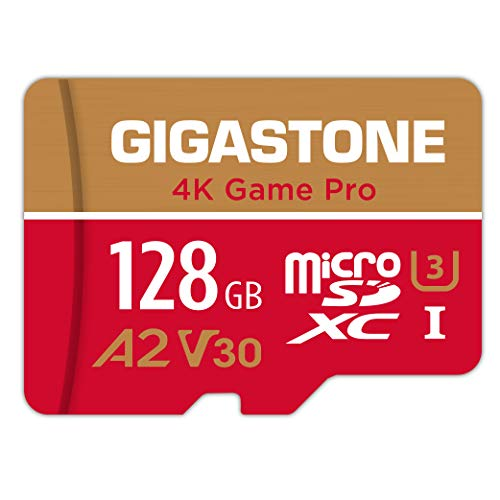Gigastone 128GB Micro SD Card, 4K Game Pro, Nintendo Switch Compatible, A2 Run App, 4K Video Recording, R/W up to 100/50MB/s, Micro SDXC UHS-I A2 V30 Class 10