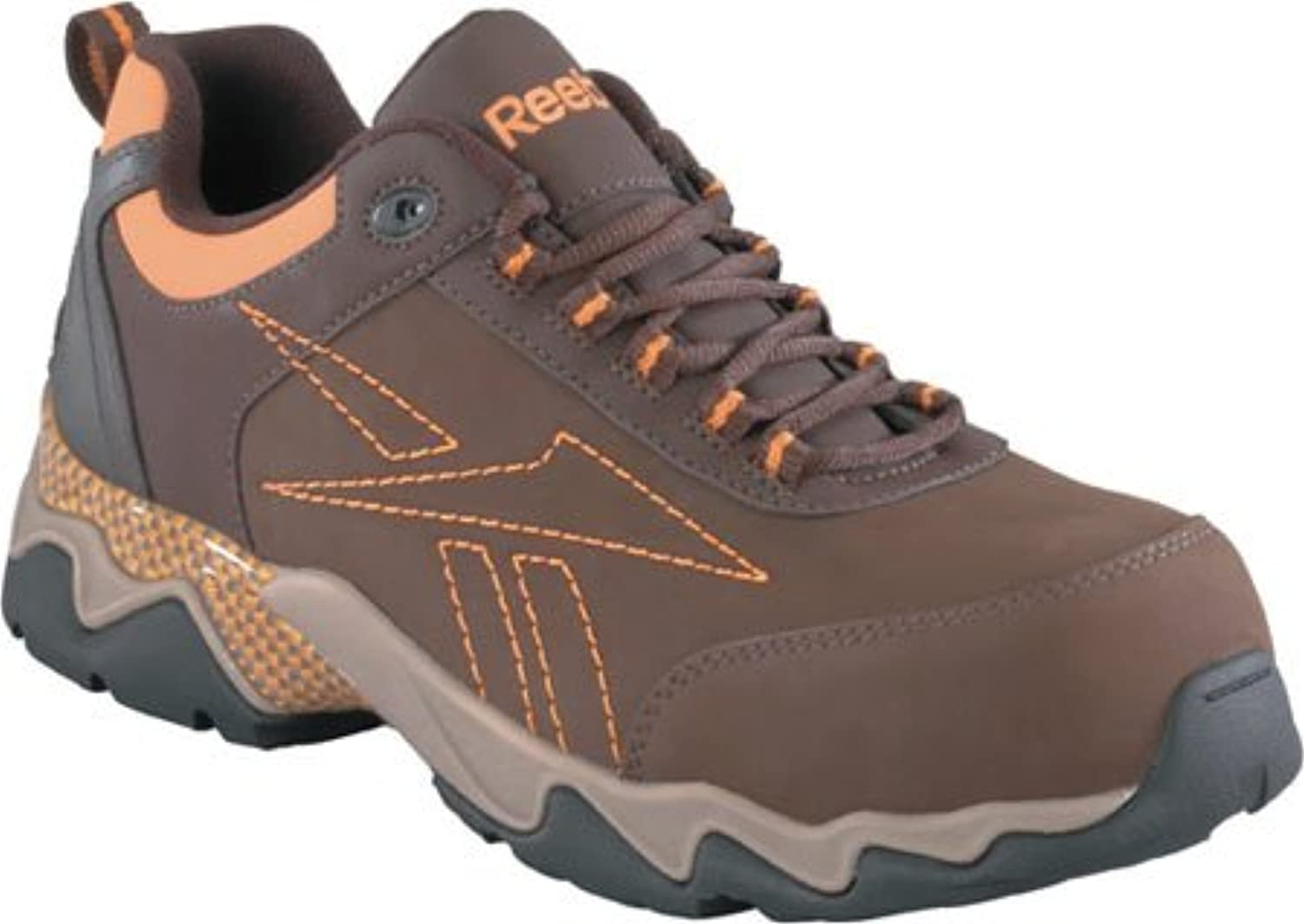 Reebok Mens Brown Leather Athletic Oxford Beamer Composite Toe