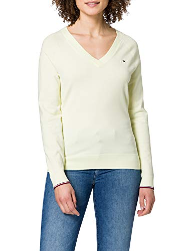 Tommy Hilfiger Damen V-Neck Sweater Pullover, Milchglas-Zitrone, M