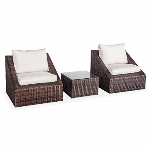 Salon de Jardin 2 Places - Triangolo - résine tressée Chocolat. Coussins écrus. fauteuils + 1 Table Basse. empilables