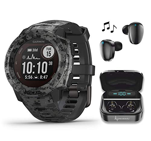 Garmin Instinct Solar Sportsman Camo Edition Premium GPS Smartwatch with Included Wearable4U Ultimate Black Earbuds with Charging Power Bank Case Bundle (Graphite Camo)