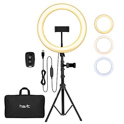 havit Anillo de luz LED de 12 Pulgadas, Anillo de luz con trípode y Soporte...