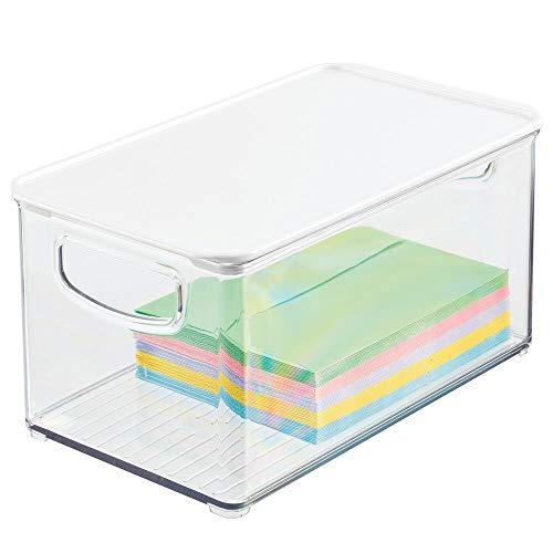 mDesign Schreibtischablage mit Griffen für Stifte, Büroklammern usw. – Aufbewahrungsbox mit Deckel aus robustem...
