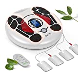 Foot Circulation Stimulator ,(NO Vibrating)EMS Foot Massager Machine Electronic Pulse Acupuncture for Feet Legs Circulation Pain Relief,4 Electrode Gel Pads, Massages and Relaxes Body with Tens Unit