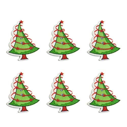 SUPVOX Botones de Madera Botones Navidad Botones Decorativos Forma de árbol de Navidad 50Piezas 35x 27mm