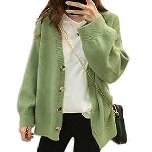 [ミケディ] ニット カーディガン シンプル ゆったり セーター もっちり生地 レディース グリーン