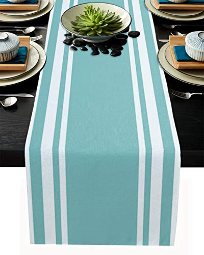 YOKOU Burlap Kitchen Table Runner, 16'x72' Long Table Top Decoration for Everyday Use, Special Occasions, Dinner Parties, Stripe Green White