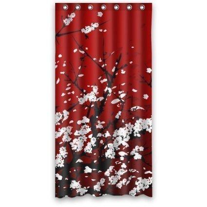 CHATAE Cortina de Ducha Japonesa Oriental Cherry Art Resistente al Agua poliéster Cortina para la Ducha Rojo 72 x 72