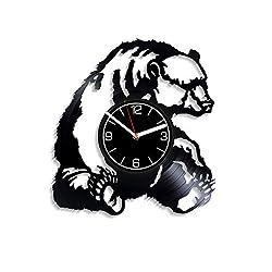 Kovides Bear Vinyl Record Wall Clock Animal Decoration 12 inch Wall Clock Nature Art Birthday Gift for Her Bear Wall Art Wild Animal Clock Nature Wall Clock Grizzly Bear Vinyl Clock Xmas Gift for Man