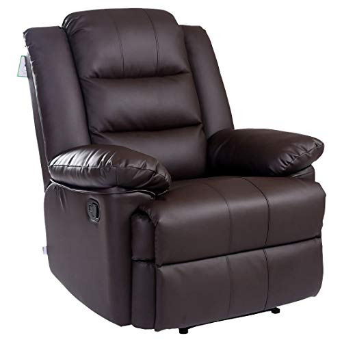 Loxley Leather Recliner Armchair Sofa Home Lounge Chair Reclining Gaming (Brown)