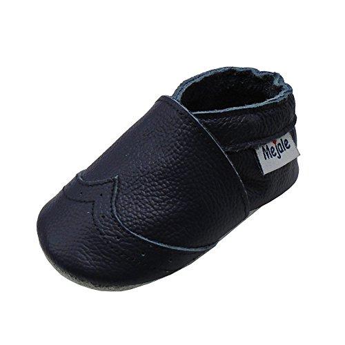 Mejale Weiche Sohle Leder Babyschuhe Lauflernschuhe Krabbelschuhe Kleinkind Kinderschuhe Hausschuhe(Marineblau,12-18 Monate)