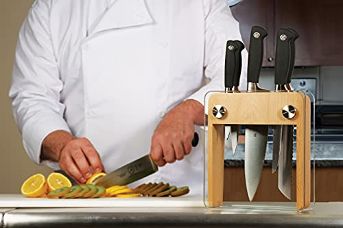 Mercer Culinary Genesis 6-Piece Forged Knife Block Set, Wood Block with Tempered Glass