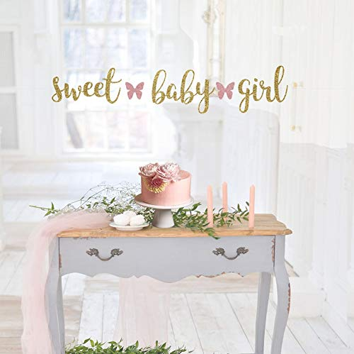 Tr674gs Sweet Baby Girl Banner It's A Girl Baby Shower Banner Baby Shower Decorations Baby Shower Decor Baby Girl Shower Decor Butterfly Banner Banner Decorations Supplies Celebration Party Banner