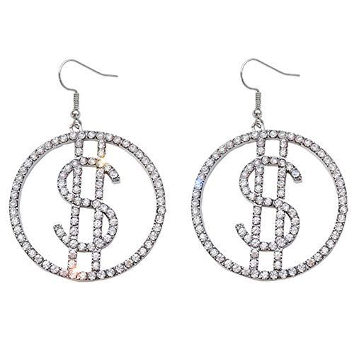 RSTJVB Pendientes de aro de Rhinestone de Signo de dólar Personalizado Moda Redonda Pendientes de Diamante Pendientes, Pendientes de Temperamento exagerado de Las Mujeres