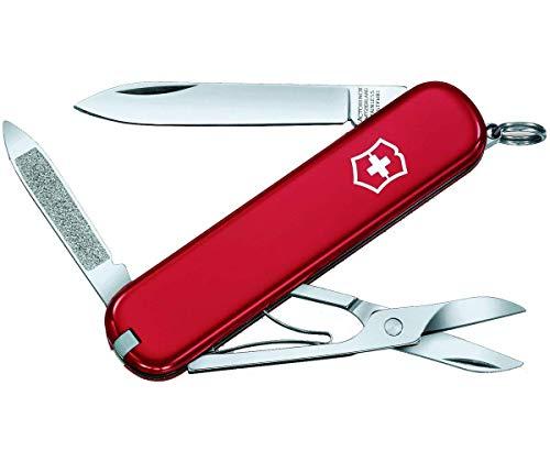 Victorinox Ambassador Petit Couteau de Poche Suisse, Léger, Multitool, 7 Fonctions, Lime à Ongles, Rouge