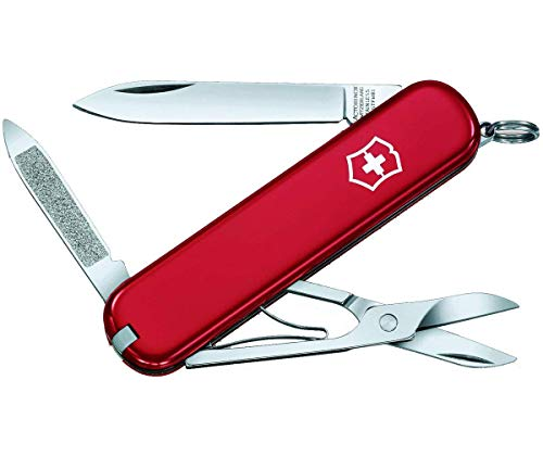 Victorinox Ambassador Swiss Army Pocket Knife, Small, Multi Tool, 7 Functions, Nail File, Red