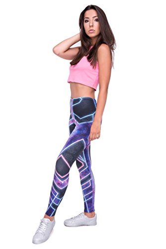 Kukubird Printed Patterns Women's Yoga Leggings Gym Fitness Running Pilates Tights Skinny Pants Size 6-10 Stretchable-Cyber steampunk buy now online