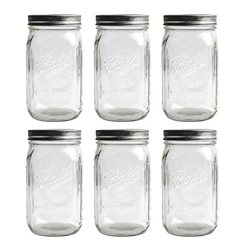 Tebery 6 Pack Clear Glass Jars Ball Mason Jars Wide Mouth 32 oz Canning Glass Jars with Lids