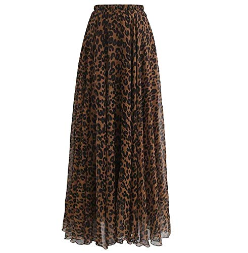 L'VOW Women's Elastic Leopard Print Watercolor Maxi Skirt High Waisted Dress Pleated Shirring (Brown, L)