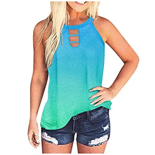 Camiseta sin Mangas con Estampado Tie-Dye para Mujer Camisas Casuales de Blusa de Verano Camiseta Sexy Halter