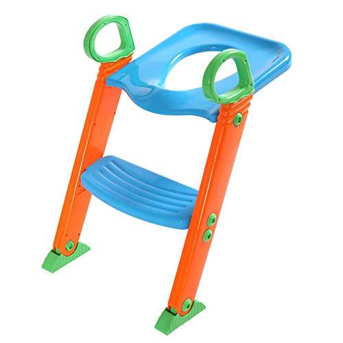 DONG Asiento de Inodoro con Inodoro Escalonado para bebés, Asiento de Inodoro para niños con Orinal Plegable Escalonado,Azul