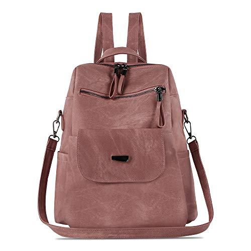 Damen-Rucksack, wasserdicht, diebstahlsicher, leicht, PU-Leder, Nylon, Schultertasche, Reiserucksack für Damen, Pink (rose), Large