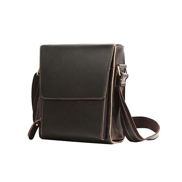 41sZSvlwRWL. SS600  - Leathario Bolso de Hombre de Cuero autentico Bandolera de Piel Bolsos de Hombro para Diario con tamaño Mediano de Estilo Retro Vintage Color marrón