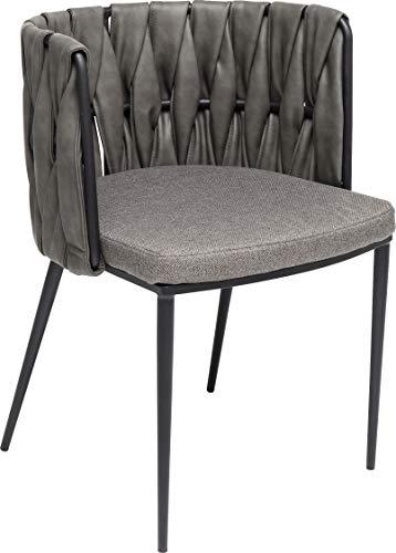 Kare Design fauteuil Cheerio, Coussin Gris Compris, Fauteuil de Salle à Manger avec Accoudoirs, Fauteuil de Salon, (H/W/D) 75x55x52cm