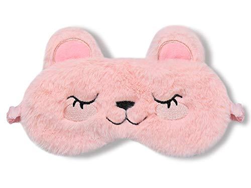 dressfan Tier Bär Schlafmaske Kinder Frauen Mädchen Süße Plüsch 3D Cartoon Augenmaske Seide Schattierung Augenbinde Nachtmaske Tragbarer für Reisen Nickerchen.Rosa