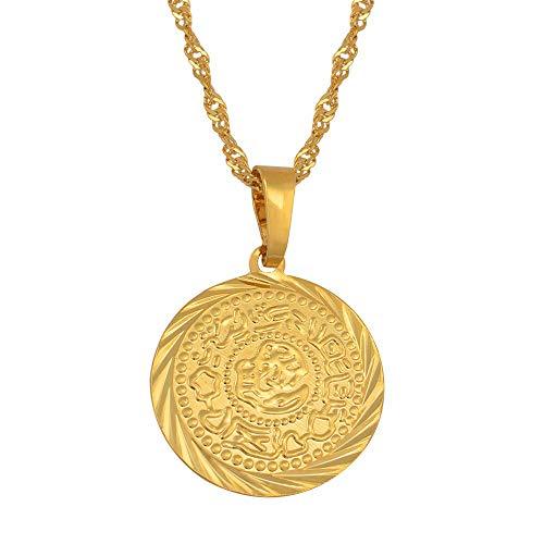 Colgante de la Moneda Colgante Collares Oro Color árabe Africano Dinero Signo Cadena joyería de Oriente Medio De mimoneda Dinero Fabricante de Dinero Regalo