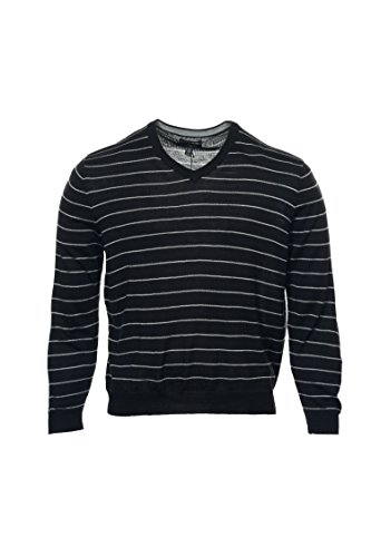 Club Room Black Striped V-Neck Sweater, Size XLarge