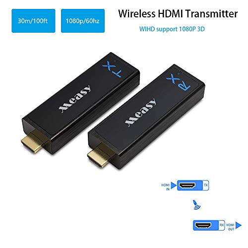 measy Wireless HDMI Transmitter and Receiver Wireless Audio Video HDMI Extender up to 30M/100Feet Support 1080P 3D Video from Laptop PC PSP Xbox Camera to Projector HDTV Monitor