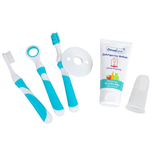 Dentistar® Zahnpflege Starter Set - 5 teiliges Zahnputzlernset + Mundpflege Set - Baby Zahngel und Silikon Fingerzahnbürste - OHNE Mikroplastik - vegan - BPA frei - Made in Germany