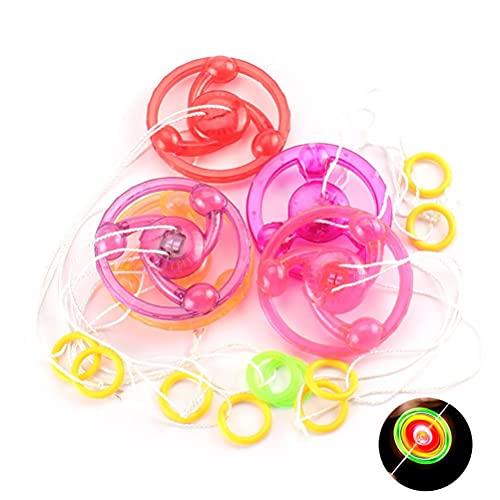 XOYZUU Juguete giratorio de dedo LED, juguete giratorio de mano, giroscopio mágico con luz de destello colorida, línea de tracción intermitente para niños, niños, niñas, 2 unidades