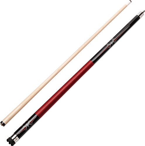 """Viper Sinister 58"""" 2-Piece Billiard/Pool Cue, Black with Burgundy/Cream Points, 21 Ounce"""