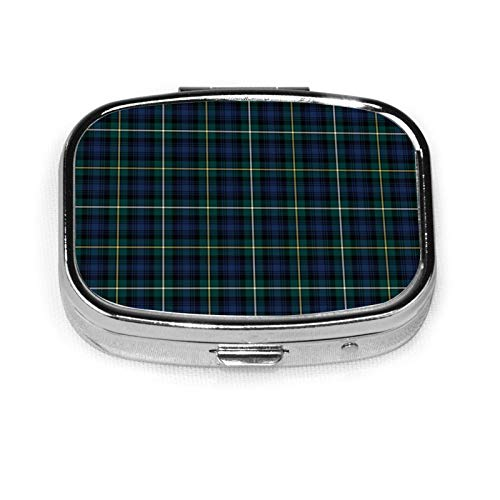 Clan Campbell Navy Blue And Green Scottish Tartan Custom Fashion Silver Round/Square Pill Box Medicine Tablet Holder Wallet Organizer Case For Pocket Or Purse Vitamin Organizer Holder Decorative Box
