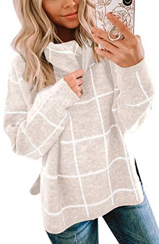 Spec4Y Damen Pullover Langarm Rollkragenpullover Oberteile Kariert Strickpullover warm Outwear Top Winter Sweatshirt Beige Medium