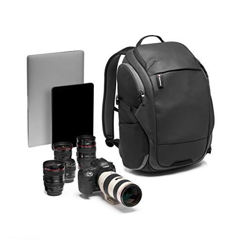 Manfrotto MB MA2-BP-T Advanced² Travel - Mochila para cámara y portátil, cámaras DSLR y sin Espejo + Objetivos estándar, con Sistema Divisor Acolchado Convertible, Transporte trípode, Tela revestida