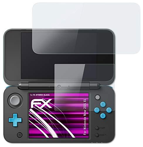 atFoliX Glasfolie kompatibel mit Nintendo New 2DS XL Panzerfolie, 9H Hybrid-Glass FX Schutzpanzer Folie (1er Set)