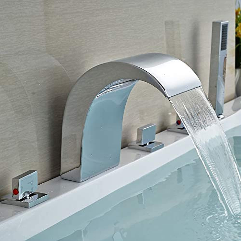 Brand New 5 Pcs Polish Chrome Bathtub Waterfall Faucet w Handheld Bath Shower Set Faucet Deck Mount,Clear