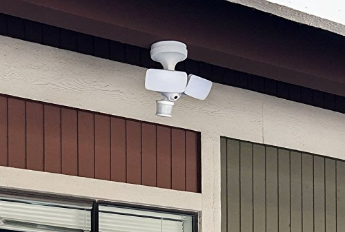 Maximus Floodlight Camera Motion-Activated HD Security Cam Two-Way Talk and Siren Alarm, White