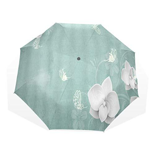 LASINSU Mini Ombrello Portatile Pieghevoli Ombrello Tascabile,Fiore retrò bianco fiorellino con sfondo di panno tinto sagoma danza di farfalla,Antivento Leggero Ombrello per Donna