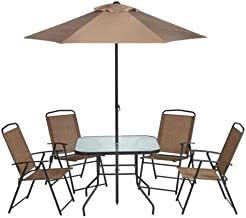 Outdoor 6-Piece Folding Patio Dining Furniture Set with Umbrella, Seats 4