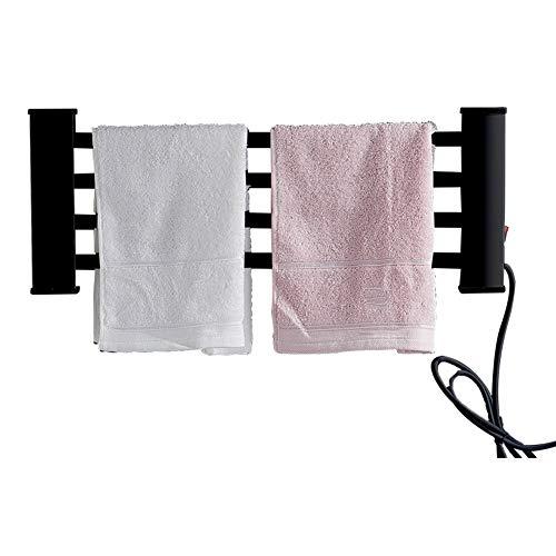 LHZHG Riel de Toalla con calefacción, baño Negro radiador de Toallas de calefacción eléctrica pequeño forPlano montado en la Pared