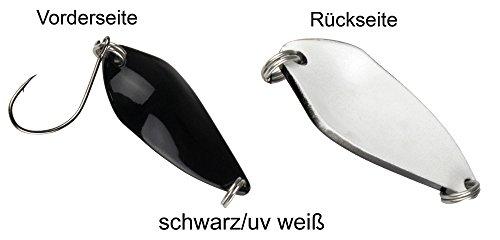 FTM Spoon Rock Blinker 4,2g - Löffelblinker zum Spinnfischen, Forellenblinker, Forellenköder, Blinker zum Forellenangeln, Farbe:schwarz/UV weiß