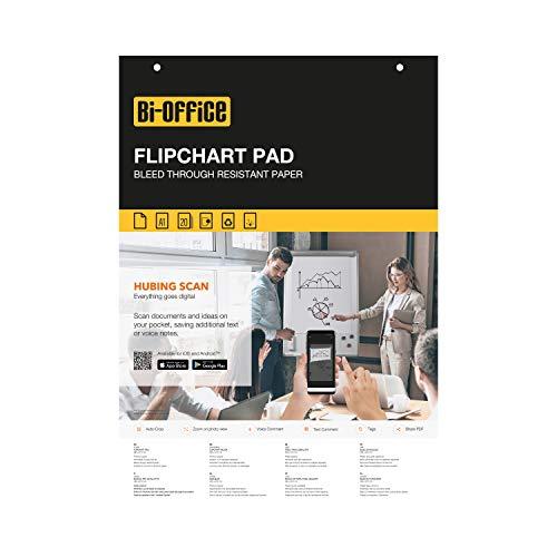 Bi-Office Blocco Per Lavagna di Carta A1, Bianca, 20 Fogli per Blocco, Lato Superiore Perforato, 55 g/mq, Conf. da 5