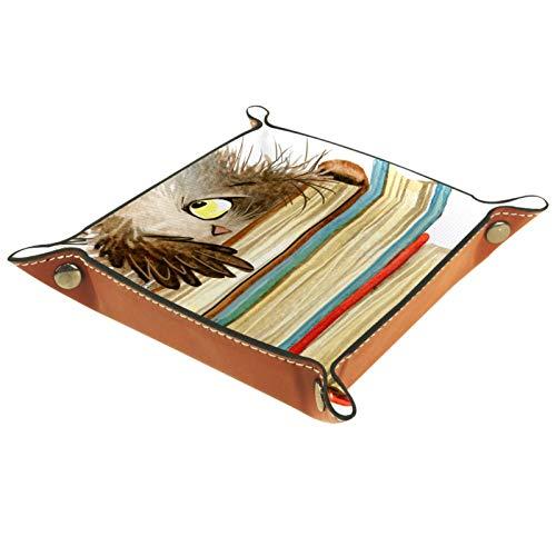 Bandeja de Cuero - Organizador - Búho de libro de dibujos animados - Práctica Caja de Almacenamiento para Carteras,Relojes,llaves,Monedas,Teléfonos Celulares y Equipos de Oficina