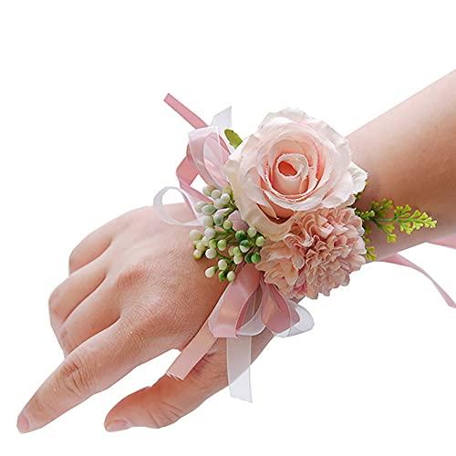 Afrsmw Pulsera Flores Dama de Honor Novia Pulsera Flores Boda Rosa