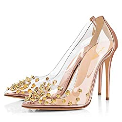 Rhinestone Studded Pointy Toe Mid Spike Heels In Salmon